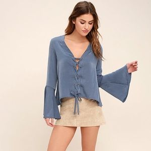 Lulus Blue Long Sleeve Lace-Up Top